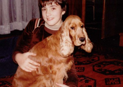 1982 at home with my dog Cora